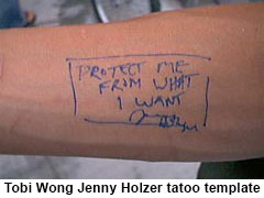Tobias Wong with Jenny Holzer tattoo ©2002 by CB Cooke